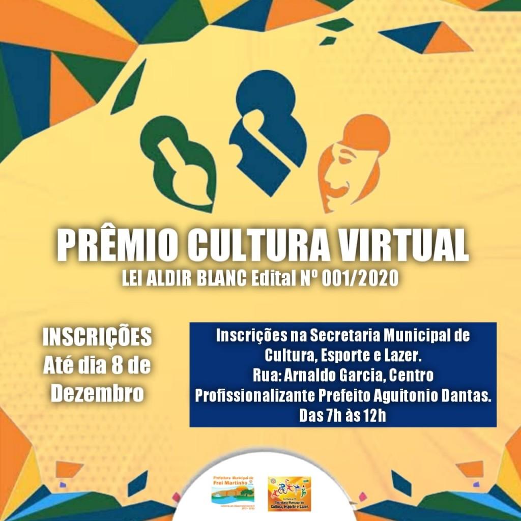 Edital n° 001/2020 Cultura Virtual da Lei Aldir Blanc